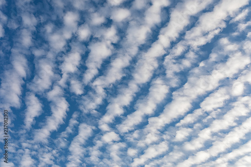 Cirrocumulus clouds against blue sky background pattern Wallpaper Mural