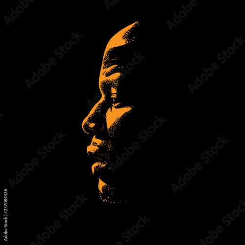 Fotografie, Obraz  African Man portrait silhouette in contrast backlight. Vector.