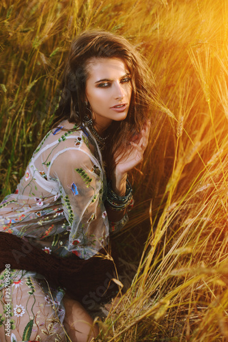 Poster Gypsy hippie girl in nature