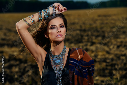 Fotobehang Gypsy female fashion model