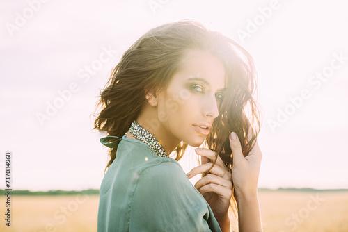Poster Gypsy fashion model in field