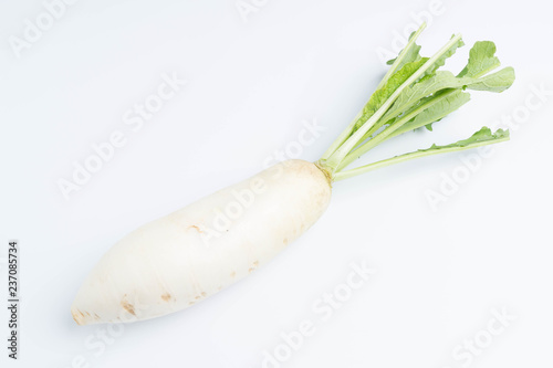 daikon radishes isolated on white