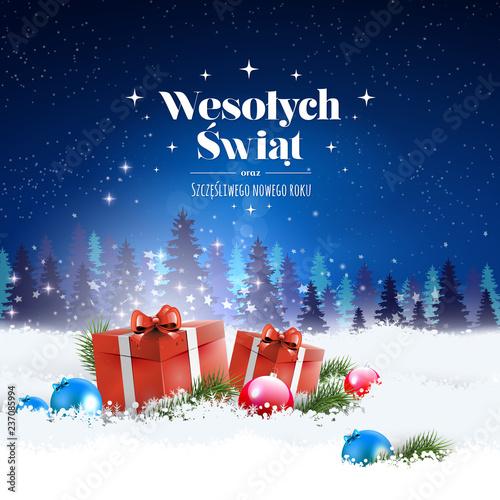 Obraz Koncepcja kartki z stylowym napisem Wesołych Świąt oraz szczęśliwego Nowego Roku po polsku. Zimowa nocna sceneria, w śniegu leżące prezenty a na niebie pada śnieg - fototapety do salonu
