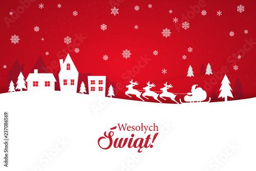 Fototapeta Kartka świąteczna ze stylowym napisem Wesołych Świąt po polsku. Zimowa sceneria z padającym śniegiem oraz zaprzęgiem reniferów wraz ze Świętym Mikołajem obraz