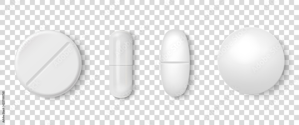 Fototapeta Vector 3d Realistic White Medical Pill Icon Set Closeup Isolated on Transparency Grid Background. Design template of Pills, Capsules for graphics, Mockup. Medical and Healthcare Concept. Top View
