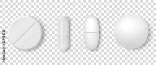 Fotografia  Vector 3d Realistic White Medical Pill Icon Set Closeup Isolated on Transparency Grid Background
