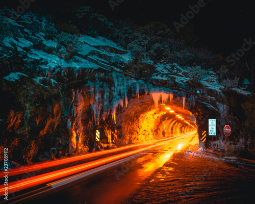 Canvas Prints Narrow alley Light Trails at Tunnel View in Yosemite