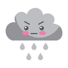 Kawaii Angry Cloud Rain Cartoon