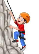 Cartoon Happy Boy Climbing Rock