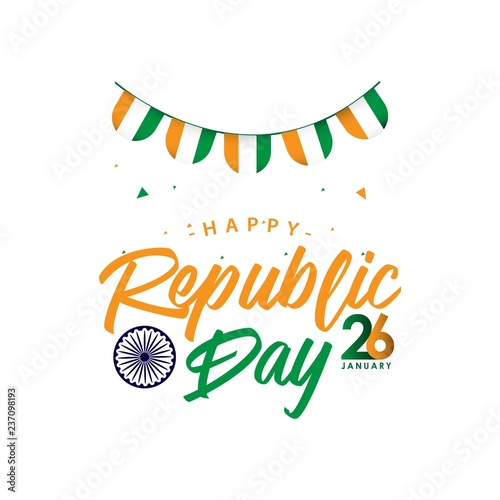 Cuadros en Lienzo Happy India Republic Day Vector Template Design Illustration