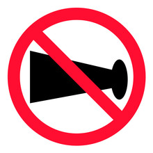 No Blowing Of Horn Icon On White Background. Flat Style. No Horn Sign For Your Web Site Design, Logo, App, UI. No Horn Prohibited Sign. No Horn Logo. No Horn Traffic Sign.