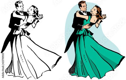 A couple ballroom dancing. Canvas Print