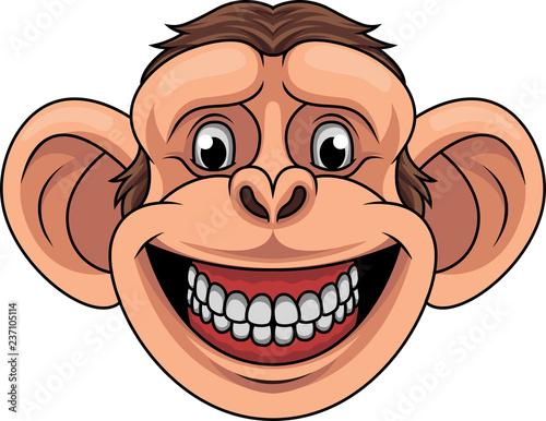 Naklejka premium Kreskówka małpa głowa maskotka