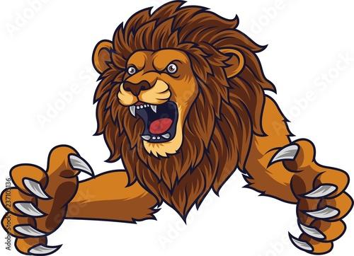 Naklejka premium Zły lew skaczący
