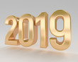 gold 2019 new year installation 3d render high quality