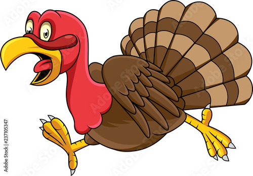 Cartoon turkey running #237105347