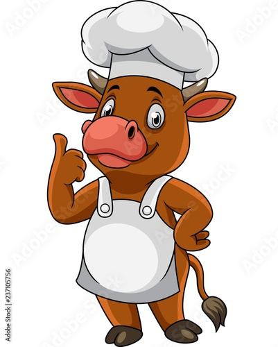 Cartoon happy cow chef giving thumbs up #237105756