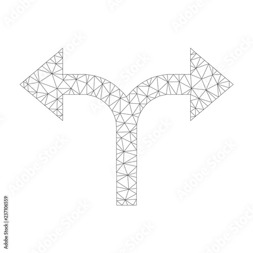 Fotografie, Tablou  Mesh vector bifurcation arrows left right icon on a white background