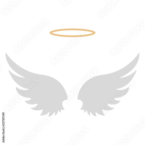 Valokuva Halo and Angel Wings - Gold halo with set of two white angel wings