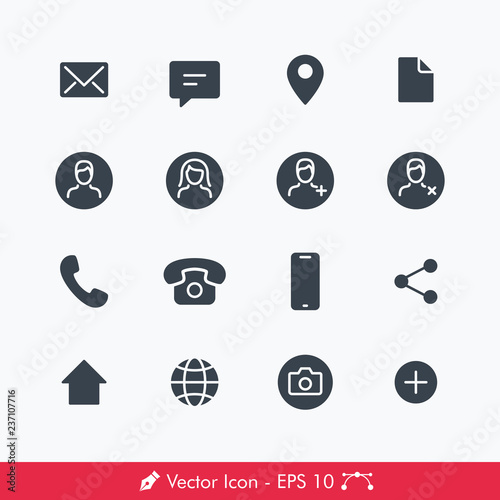 Contact Related Icons Vectors Set Contains Such Message Email Chat Location Document User Male Female Add Delete Phone Telephone Smartphone Share Home Globe Profile Picture Add Buy This Stock