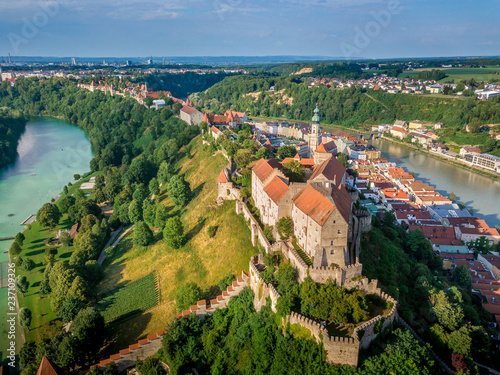 Stampa su Tela Aerial panorama of Burghausen the world's longest castle above the Inn river on