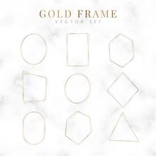 Golden Blank Frame Vector Set
