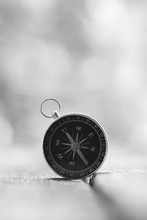 Vintage Compass On Old Wooden Table Background With Smooth Blur Background, Copy Space