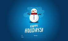 Happy Holidays To From Template Card With Snowman Illustration