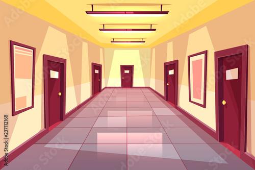 Tableau sur Toile Vector cartoon hallway, corridor with many doors - college, university or office building
