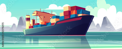 Canvastavla Vector illustration with a dry-cargo ship at sea, ocean