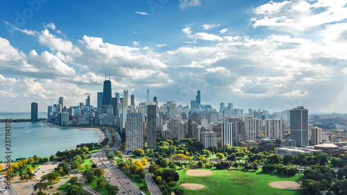 Tuinposter Centraal-Amerika Landen Chicago skyline aerial drone view from above, lake Michigan and city of Chicago downtown skyscrapers cityscape from Lincoln park, Illinois, USA