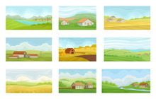 Collection Of Summer Rural Landscapes With Village Houses, Meadow With Green And Yellow Grass, Agriculture And Farming Vector Illustration On A White Background