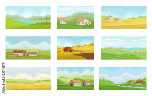 Collection of summer rural landscapes with village houses, meadow with green and Fototapete