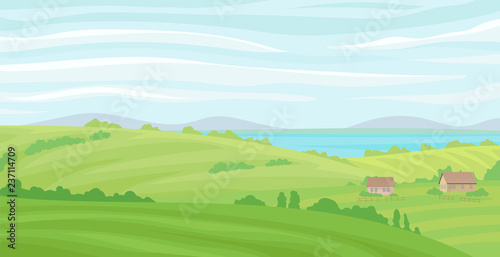 Poster Pool Summer rural landscape, meadow with green grass and river, agriculture and farming vector Illustration on a white background