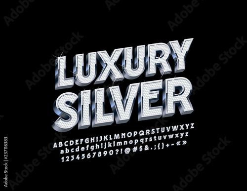 Valokuva Vector set of luxury Silver Alphabet Letters, Numbers and Symbols