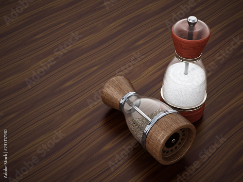Glass salt and pepper grinder set standing on wooden table. 3D illustration
