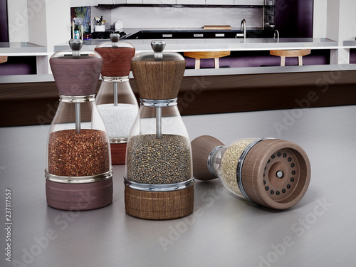 Glass spice grinders set standing on kitchen table. 3D illustration