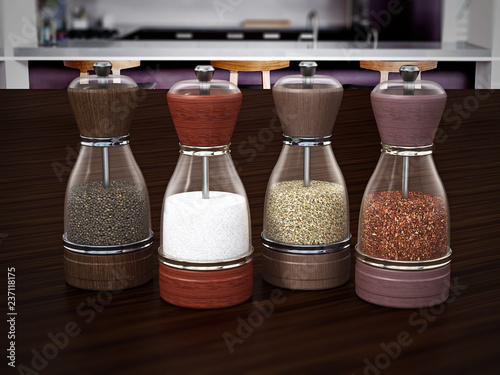 Glass spice grinders set standing on wooden table. 3D illustration