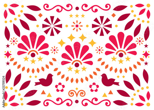 Fotografija  Mexican traditional folk art vector geometric pattern with flowers and birds, or