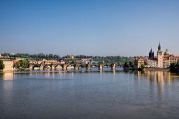 Fototapeta Prag, Moldau mit Karlsbrücke
