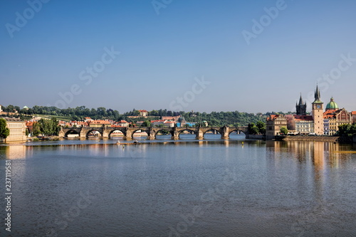 Spoed Foto op Canvas Centraal Europa Prag, Moldau mit Karlsbrücke