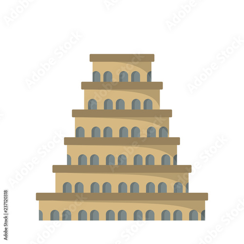 Foto Flat icon of the tower of Babel.