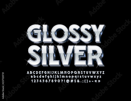 Silver Glossy 3D Font with sparkling Stars Canvas-taulu