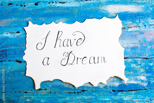 Fotografía I Have a Dream calligraphy note