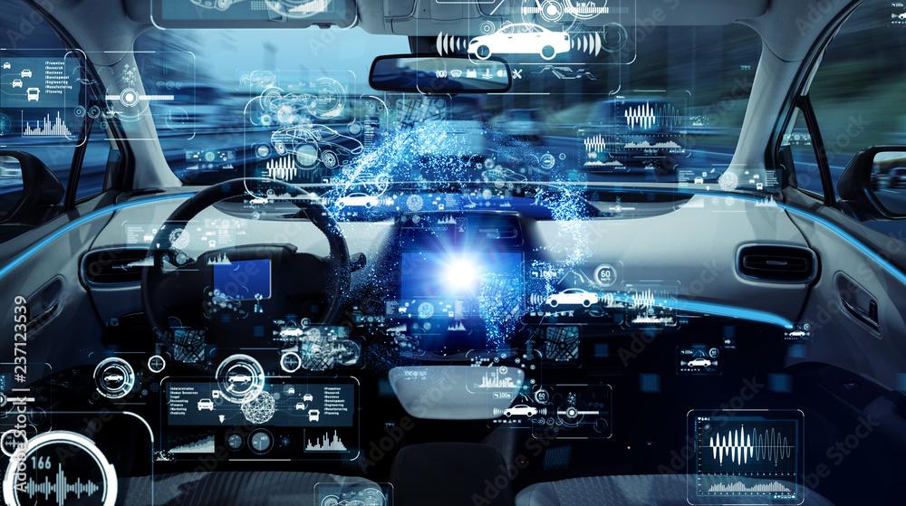Fototapety, obrazy: Autonomous car concept. Driverless vehicle.