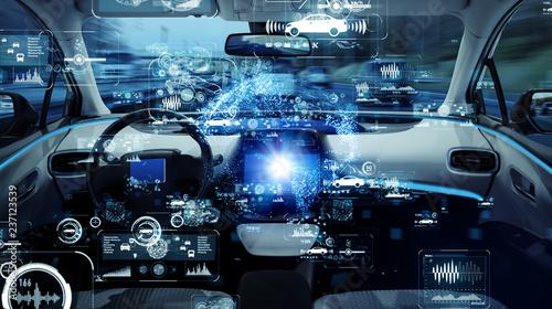Fotografía  Autonomous car concept. Driverless vehicle.