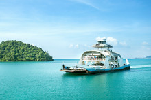 Ferry Goes By Sea. Ferry On Island Of Koh Chang, Thailand.