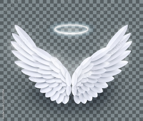 Fototapeta Vector 3d white realistic layered paper cut angel wings isolated on transparent background obraz
