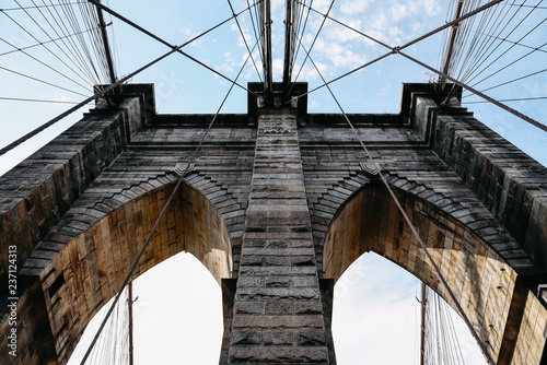 Low angle view of Brooklyn Bridge in New York