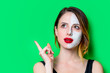 canvas print picture - Woman using eye patch for her eyes with cream on her face. Portrait of natural  and true female as usually they are looks like